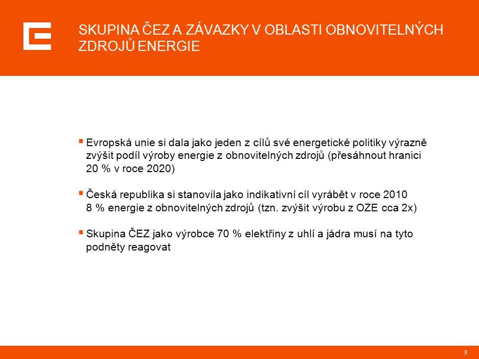 3  Evropská unie si dala jako jeden z cílů své energetické politiky výrazně zvýšit podíl výroby energie z obnovitelných zdrojů (přesáhnout hranici 20 % v roce 2020)  Česká republika si stanovila jako indikativní cíl vyrábět v roce 2010 8 % energie z obnovitelných zdrojů (tzn.