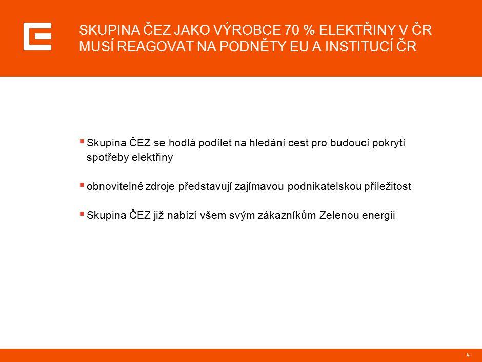 4 SKUPINA ČEZ JAKO VÝROBCE 70 % ELEKTŘINY V ČR MUSÍ REAGOVAT NA PODNĚTY EU A INSTITUCÍ ČR  Skupina ČEZ se hodlá podílet na hledání cest pro budoucí pokrytí spotřeby elektřiny  obnovitelné zdroje představují zajímavou podnikatelskou příležitost  Skupina ČEZ již nabízí všem svým zákazníkům Zelenou energii