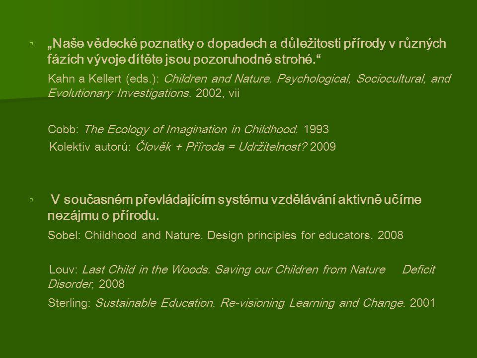 """  """"Naše vědecké poznatky o dopadech a důležitosti přírody v různých fázích vývoje dítěte jsou pozoruhodně strohé. Kahn a Kellert (eds.): Children and Nature."""