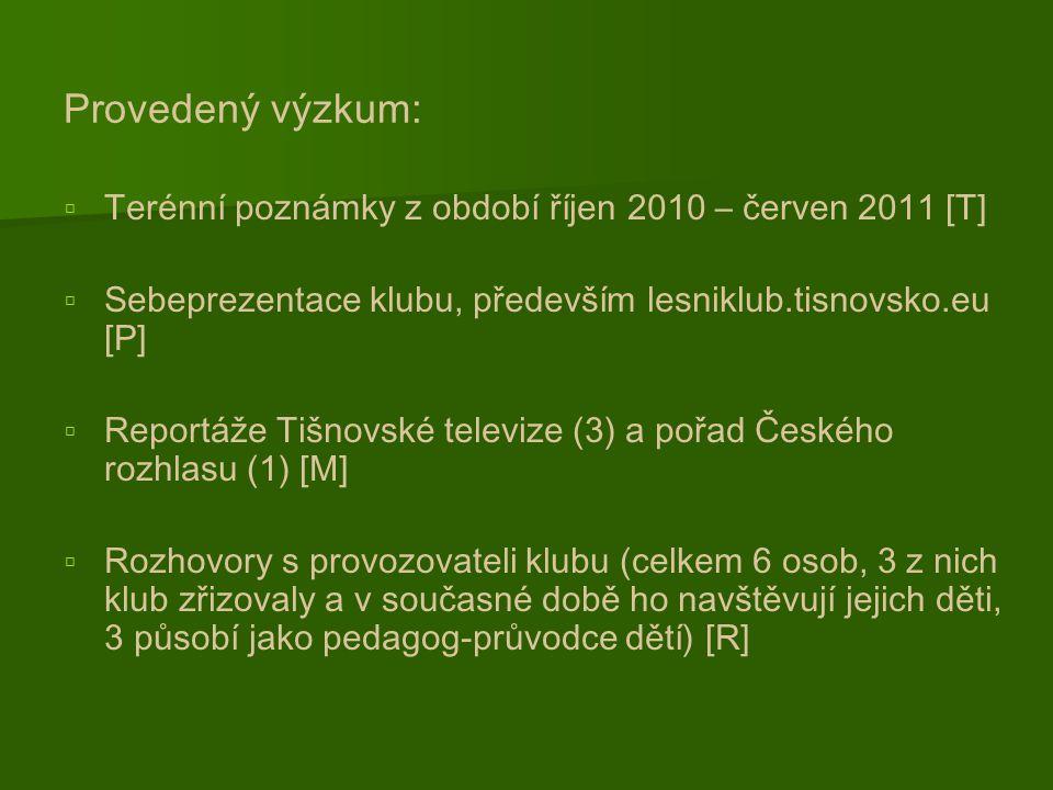 Provedený výzkum:   Terénní poznámky z období říjen 2010 – červen 2011 [T]   Sebeprezentace klubu, především lesniklub.tisnovsko.eu [P]   Reportáže Tišnovské televize (3) a pořad Českého rozhlasu (1) [M]   Rozhovory s provozovateli klubu (celkem 6 osob, 3 z nich klub zřizovaly a v současné době ho navštěvují jejich děti, 3 působí jako pedagog-průvodce dětí) [R]
