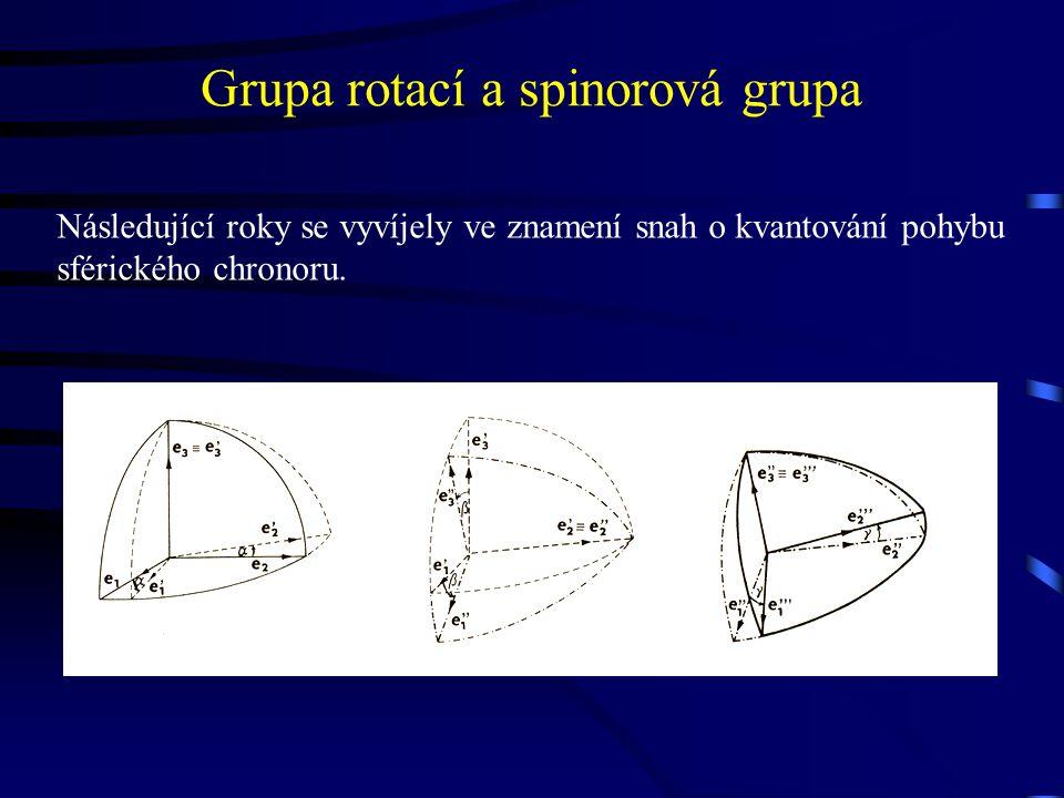 Grupa rotací a spinorová grupa Následující roky se vyvíjely ve znamení snah o kvantování pohybu sférického chronoru.