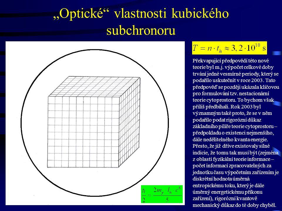 """""""Optické vlastnosti kubického subchronoru Překvapující předpovědí této nové teorie byl m.j."""