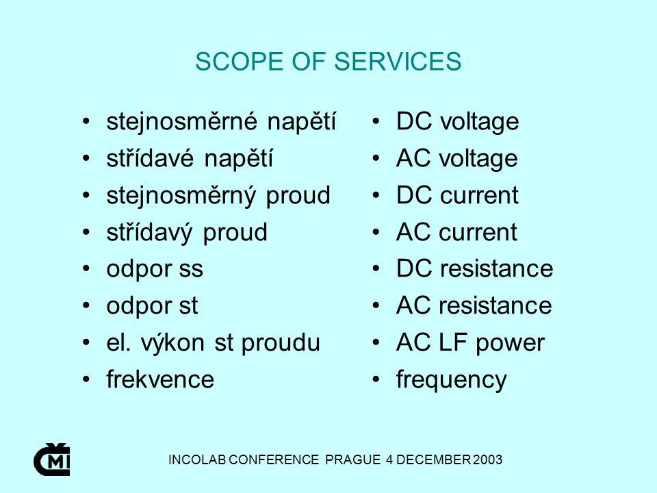 INCOLAB CONFERENCE PRAGUE 4 DECEMBER 2003 SCOPE OF SERVICES stejnosměrné napětí střídavé napětí stejnosměrný proud střídavý proud odpor ss odpor st el.
