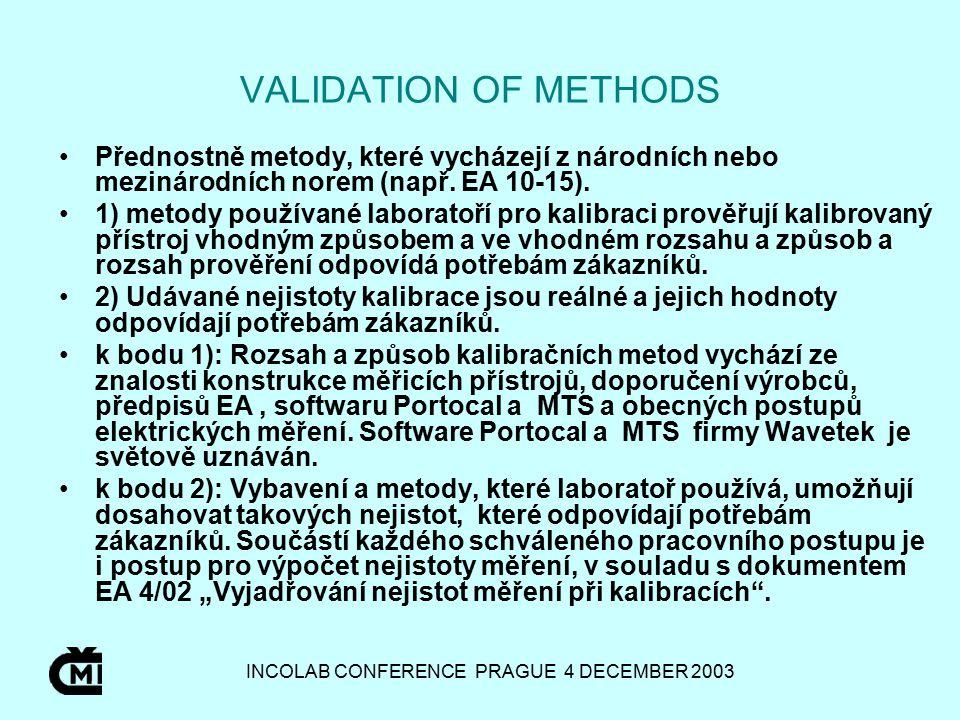 INCOLAB CONFERENCE PRAGUE 4 DECEMBER 2003 VALIDATION OF METHODS Přednostně metody, které vycházejí z národních nebo mezinárodních norem (např.