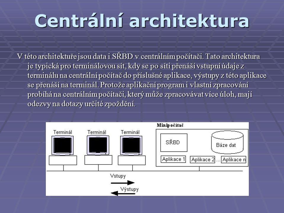 Centrální architektura V této architektuře jsou data i SŘBD v centrálním počítači. Tato architektura je typická pro terminálovou sít, kdy se po síti p