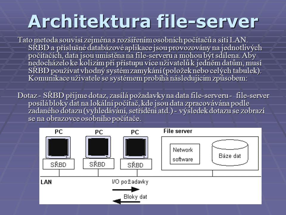 Architektura file-server Tato metoda souvisí zejména s rozšířením osobních počítačů a sítí LAN. SŘBD a příslušné databázové aplikace jsou provozovány