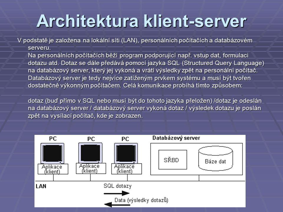 Architektura klient-server V podstatě je založena na lokální síti (LAN), personálních počítačích a databázovém serveru. Na personálních počítačích běž