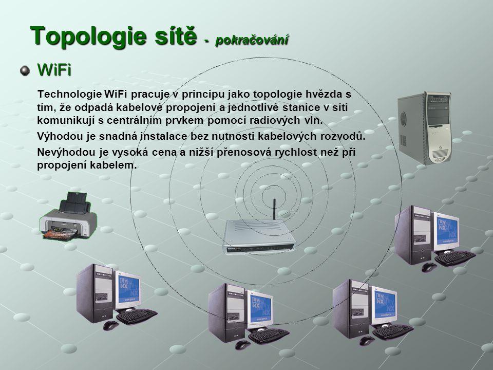 Topologie sítě - pokračování WiFi WiFi Technologie WiFi pracuje v principu jako topologie hvězda s tím, že odpadá kabelové propojení a jednotlivé stan