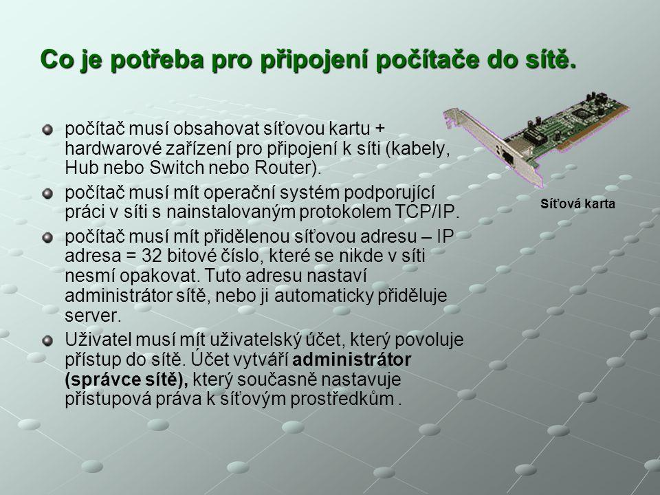 Co je potřeba pro připojení počítače do sítě. počítač musí obsahovat síťovou kartu + hardwarové zařízení pro připojení k síti (kabely, Hub nebo Switch