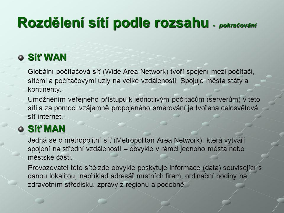 Rozdělení sítí podle rozsahu - pokračování Síť WAN Globální počítačová síť (Wide Area Network) tvoří spojení mezi počítači, sítěmi a počítačovými uzly
