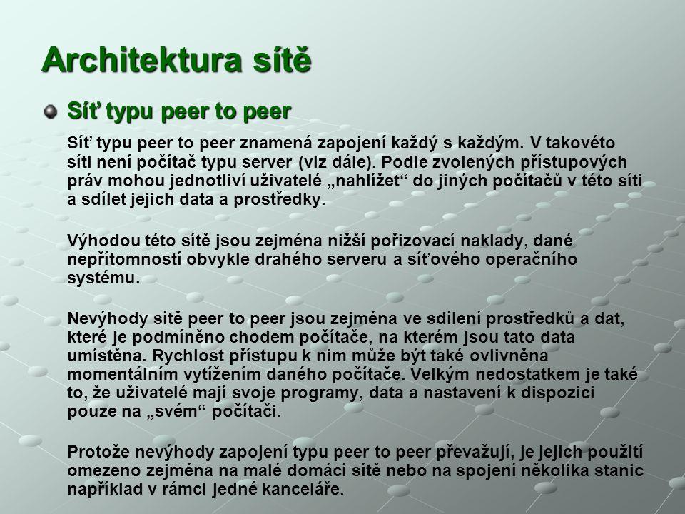 Architektura sítě Síť typu peer to peer Síť typu peer to peer znamená zapojení každý s každým. V takovéto síti není počítač typu server (viz dále). Po