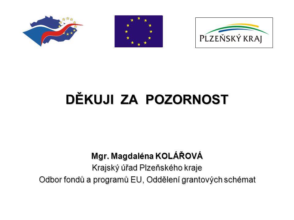 DĚKUJI ZA POZORNOST Mgr. Magdaléna KOLÁŘOVÁ Krajský úřad Plzeňského kraje Odbor fondů a programů EU, Oddělení grantových schémat
