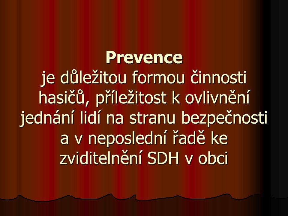 Prevence je důležitou formou činnosti hasičů, příležitost k ovlivnění jednání lidí na stranu bezpečnosti a v neposlední řadě ke zviditelnění SDH v obci
