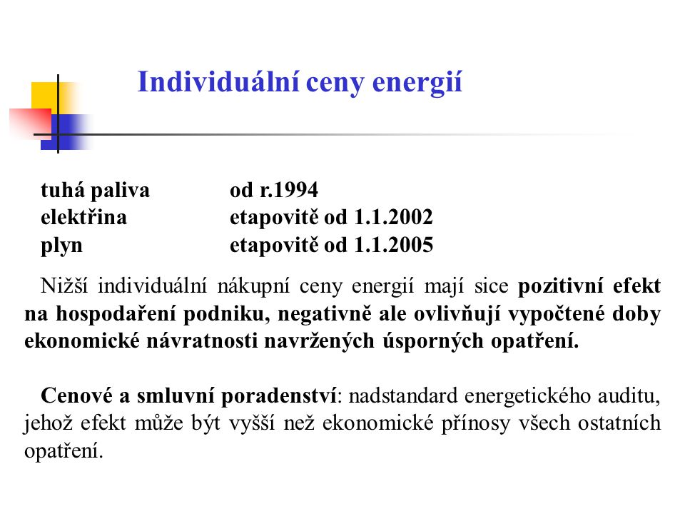 Individuální ceny energií tuhá palivaod r.1994 elektřina etapovitě od 1.1.2002 plynetapovitě od 1.1.2005 Nižší individuální nákupní ceny energií mají