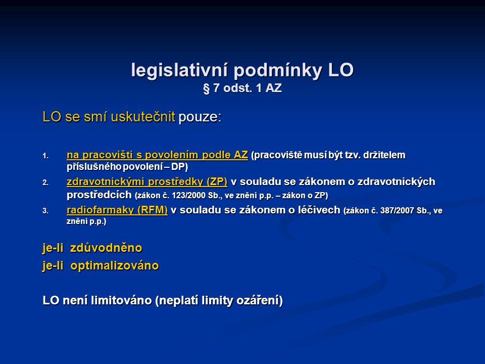 legislativní podmínky LO § 7 odst. 1 AZ LO se smí uskutečnit pouze: 1. na pracovišti s povolením podle AZ (pracoviště musí být tzv. držitelem příslušn