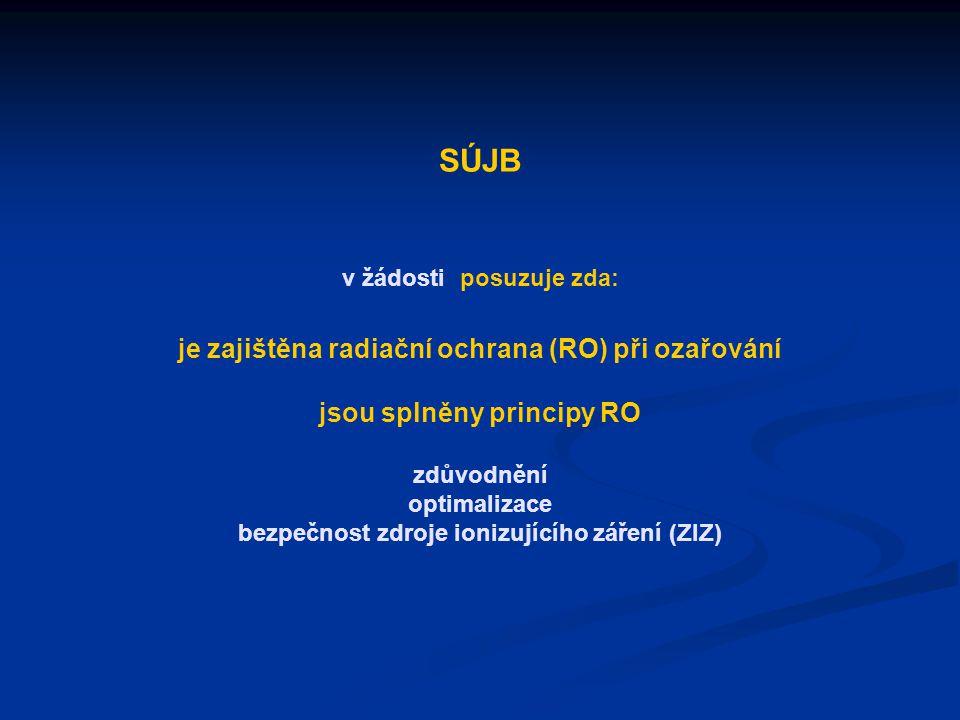 SÚJB v žádosti posuzuje zda: je zajištěna radiační ochrana (RO) při ozařování jsou splněny principy RO zdůvodnění optimalizace bezpečnost zdroje ionizujícího záření (ZIZ)