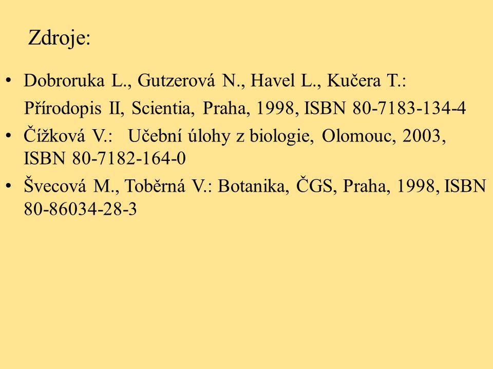 Zdroje: Dobroruka L., Gutzerová N., Havel L., Kučera T.: Přírodopis II, Scientia, Praha, 1998, ISBN 80-7183-134-4 Čížková V.: Učební úlohy z biologie, Olomouc, 2003, ISBN 80-7182-164-0 Švecová M., Toběrná V.: Botanika, ČGS, Praha, 1998, ISBN 80-86034-28-3
