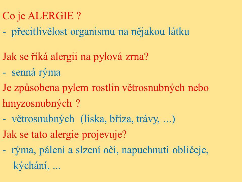 Co je ALERGIE . -přecitlivělost organismu na nějakou látku Jak se říká alergii na pylová zrna.