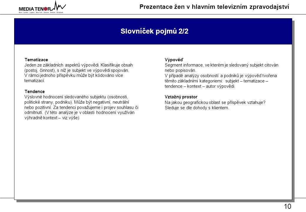10 Prezentace žen v hlavním televizním zpravodajství Slovníček pojmů 2/2 Tematizace Jeden ze základních aspektů výpovědi.