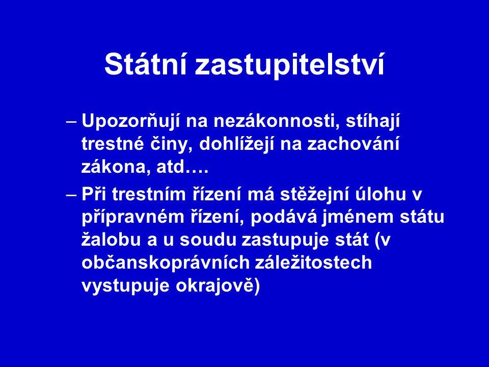 Státní zastupitelství –Upozorňují na nezákonnosti, stíhají trestné činy, dohlížejí na zachování zákona, atd….