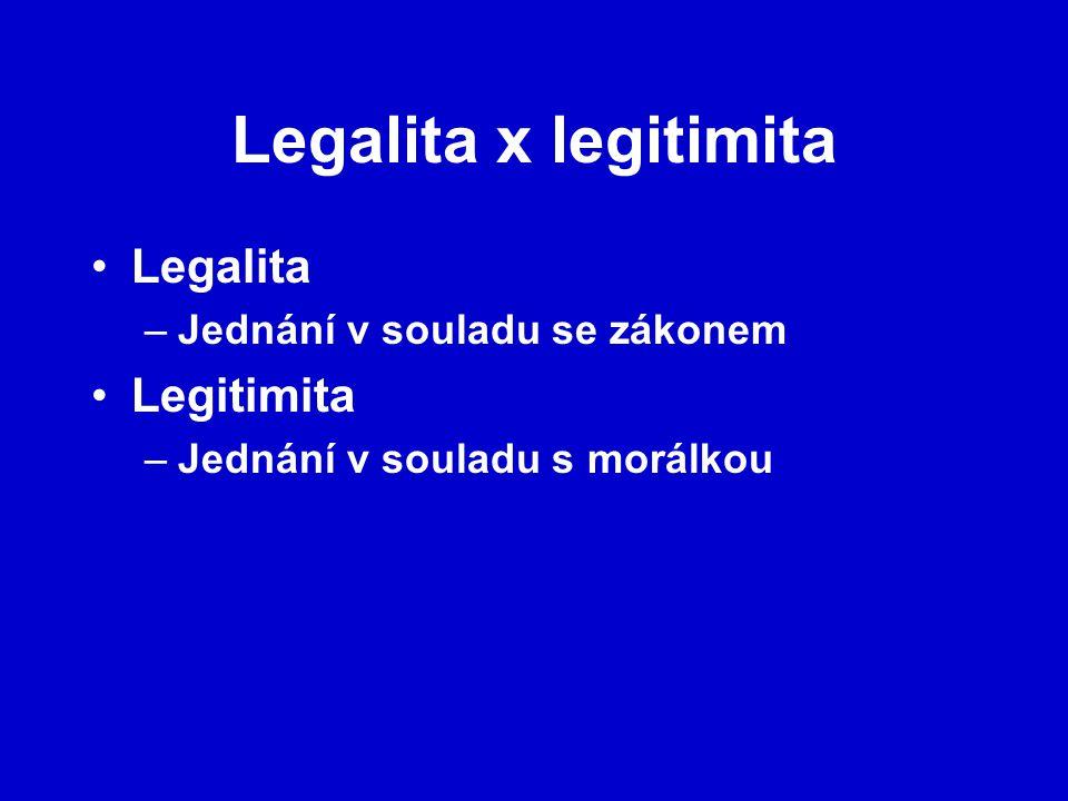 Legalita x legitimita Legalita –Jednání v souladu se zákonem Legitimita –Jednání v souladu s morálkou
