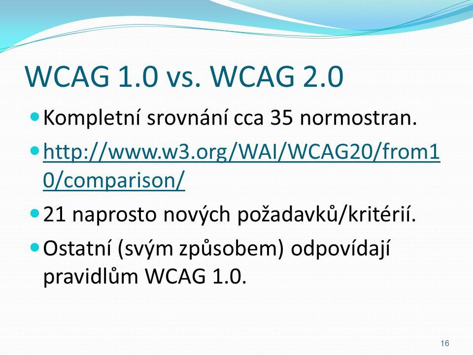 WCAG 1.0 vs. WCAG 2.0 Kompletní srovnání cca 35 normostran. http://www.w3.org/WAI/WCAG20/from1 0/comparison/ 21 naprosto nových požadavků/kritérií. Os