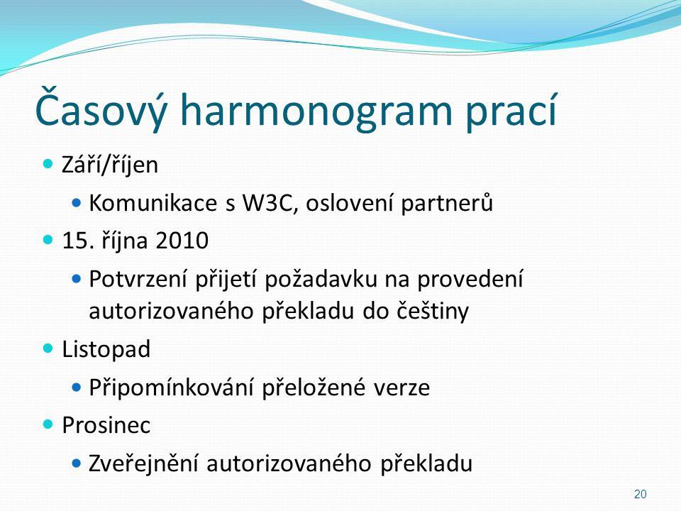 Časový harmonogram prací Září/říjen Komunikace s W3C, oslovení partnerů 15. října 2010 Potvrzení přijetí požadavku na provedení autorizovaného překlad