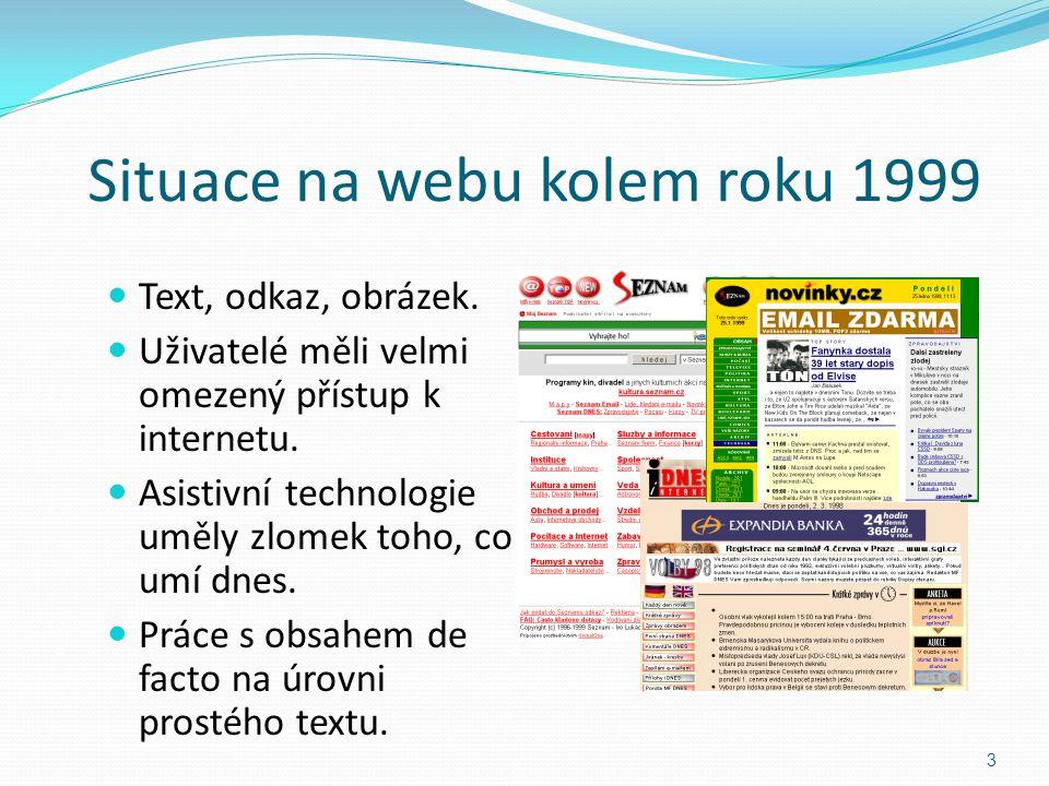 Situace na webu kolem roku 1999 Text, odkaz, obrázek. Uživatelé měli velmi omezený přístup k internetu. Asistivní technologie uměly zlomek toho, co um