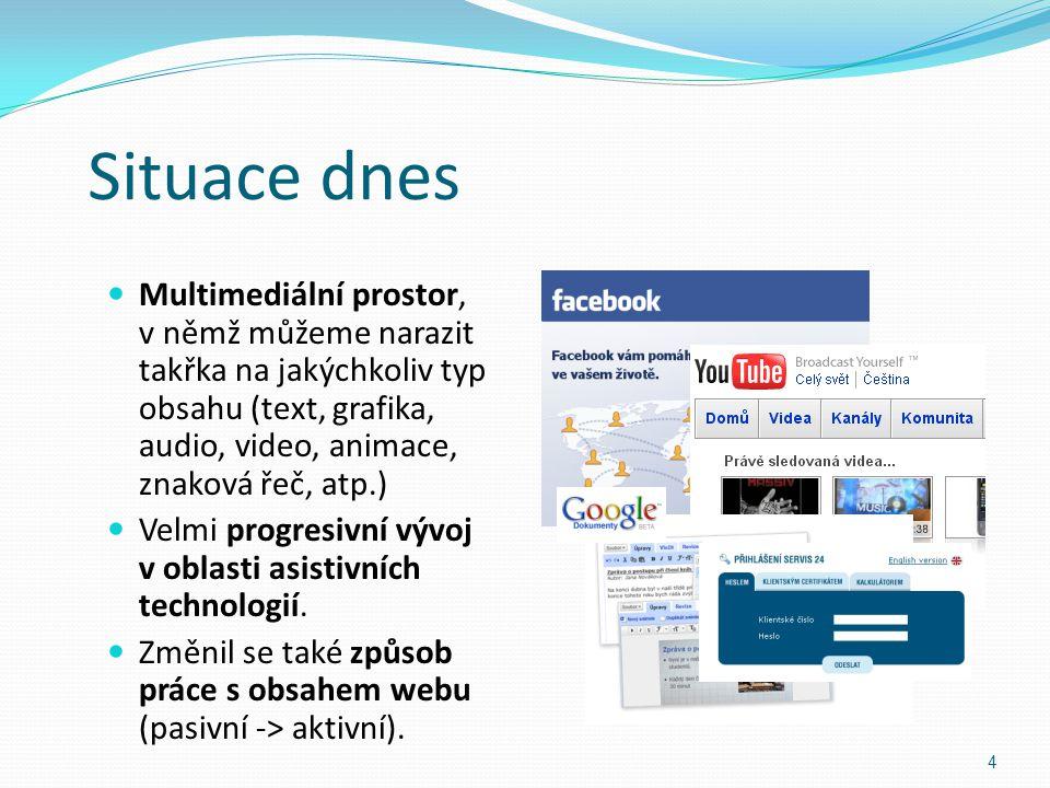 Situace dnes Multimediální prostor, v němž můžeme narazit takřka na jakýchkoliv typ obsahu (text, grafika, audio, video, animace, znaková řeč, atp.) V