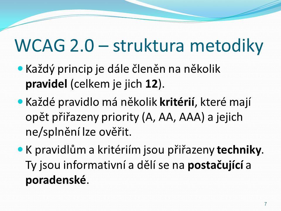 WCAG 2.0 – struktura metodiky Každý princip je dále členěn na několik pravidel (celkem je jich 12). Každé pravidlo má několik kritérií, které mají opě