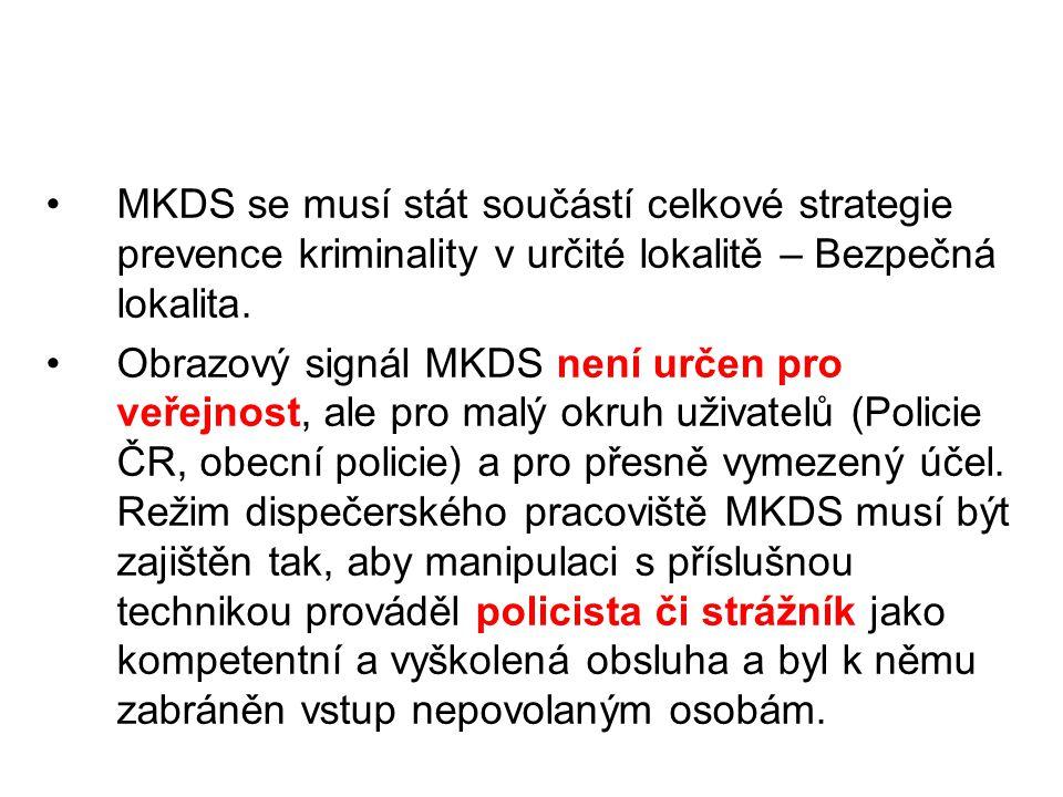 MKDS se musí stát součástí celkové strategie prevence kriminality v určité lokalitě – Bezpečná lokalita. Obrazový signál MKDS není určen pro veřejnost