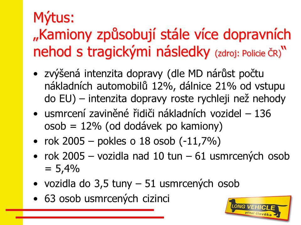 """Mýtus: """"Kamiony způsobují stále více dopravních nehod s tragickými následky (zdroj: Policie ČR) """" zvýšená intenzita dopravy (dle MD nárůst počtu nákla"""