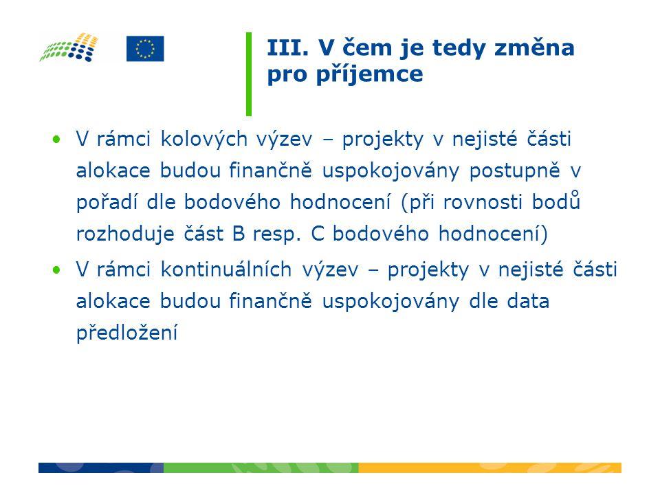 III. V čem je tedy změna pro příjemce V rámci kolových výzev – projekty v nejisté části alokace budou finančně uspokojovány postupně v pořadí dle bodo