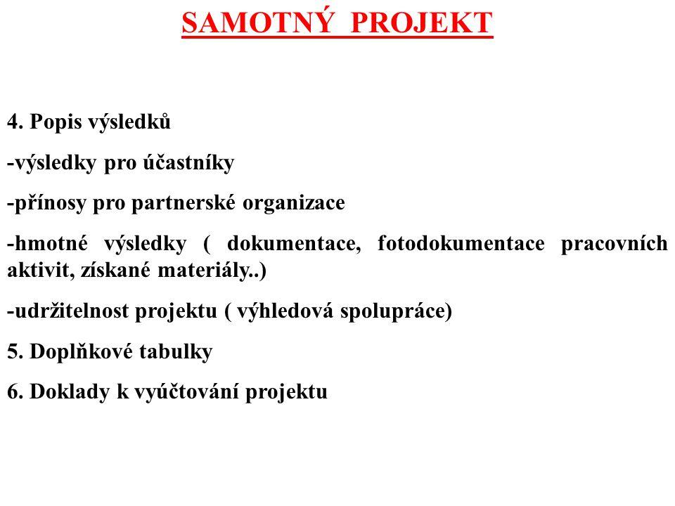SAMOTNÝ PROJEKT 4. Popis výsledků -výsledky pro účastníky -přínosy pro partnerské organizace -hmotné výsledky ( dokumentace, fotodokumentace pracovníc