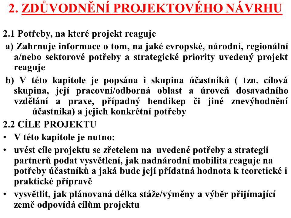 2. ZDŮVODNĚNÍ PROJEKTOVÉHO NÁVRHU 2.1 Potřeby, na které projekt reaguje a) Zahrnuje informace o tom, na jaké evropské, národní, regionální a/nebo sekt
