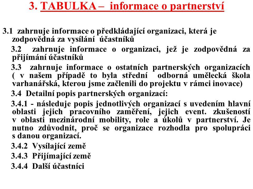 3. TABULKA – informace o partnerství 3.1 zahrnuje informace o předkládající organizaci, která je zodpovědná za vysílání účastníků 3.2 zahrnuje informa