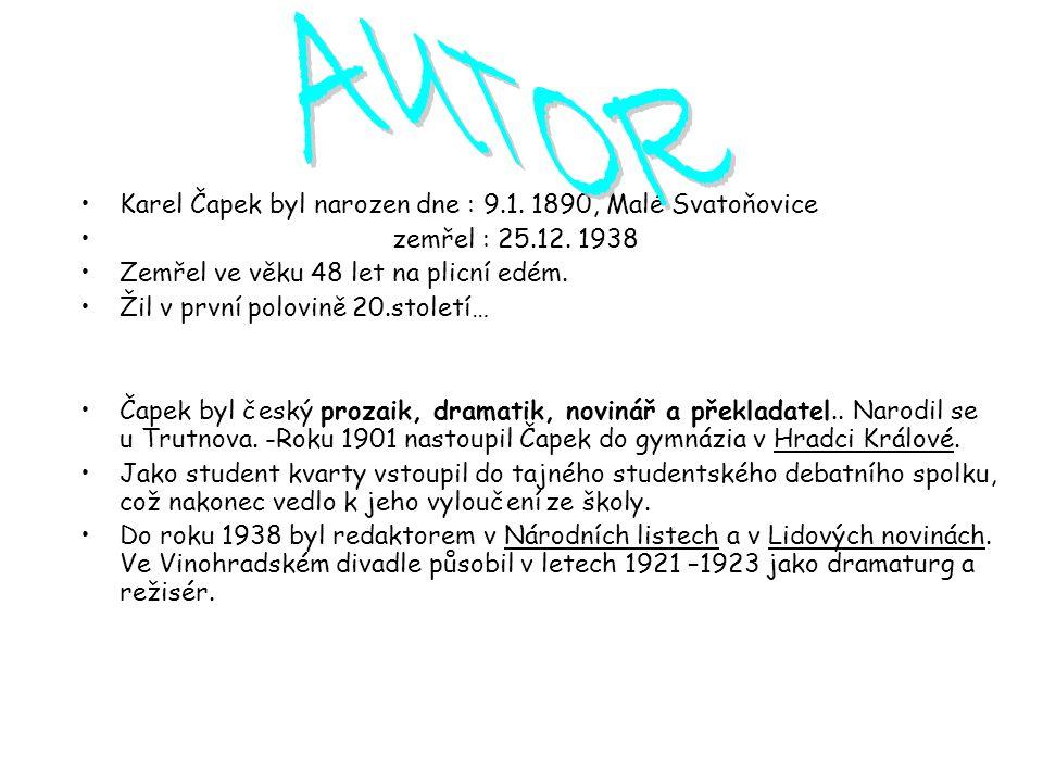 Osobnost a dílo Karla Čapka byly symbolem nejen kulturního, ale i občanského života první republiky.