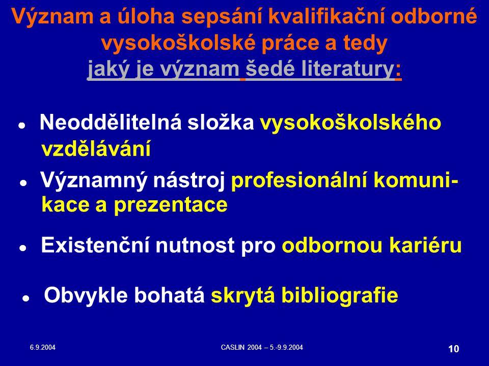 6.9.2004CASLIN 2004 – 5.-9.9.2004 10 Význam a úloha sepsání kvalifikační odborné vysokoškolské práce a tedy jaký je význam šedé literatury: ● Neodděli