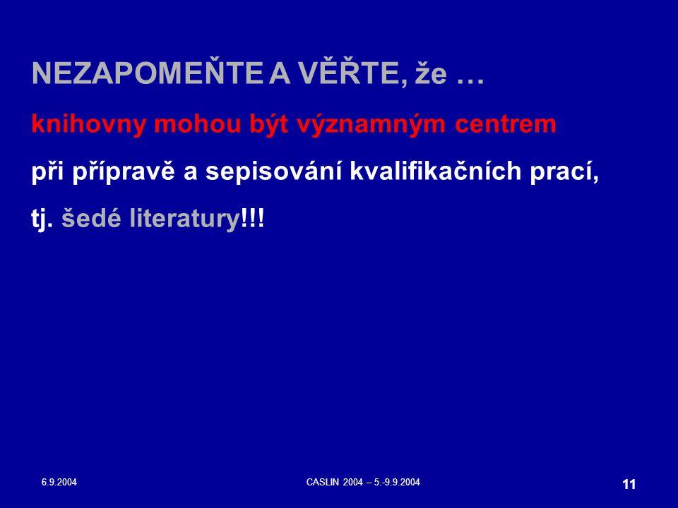 6.9.2004CASLIN 2004 – 5.-9.9.2004 11 NEZAPOMEŇTE A VĚŘTE, že … knihovny mohou být významným centrem při přípravě a sepisování kvalifikačních prací, tj