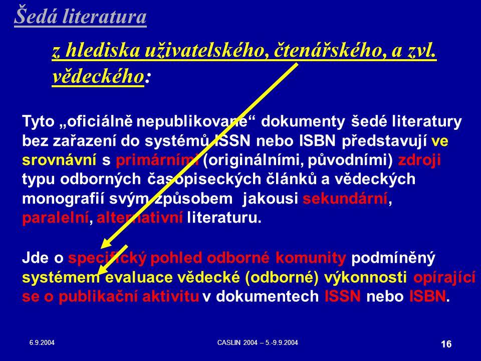 """6.9.2004CASLIN 2004 – 5.-9.9.2004 16 Tyto """"oficiálně nepublikované"""" dokumenty šedé literatury bez zařazení do systémů ISSN nebo ISBN představují ve sr"""