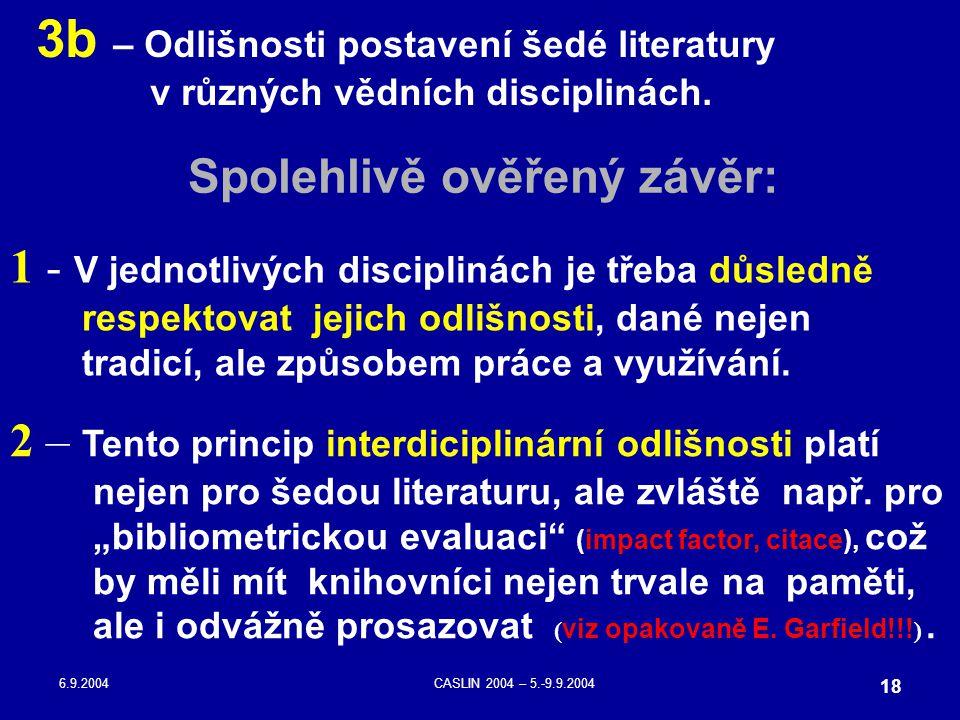 6.9.2004CASLIN 2004 – 5.-9.9.2004 18 3b – Odlišnosti postavení šedé literatury v různých vědních disciplinách. Spolehlivě ověřený závěr: 1 - V jednotl