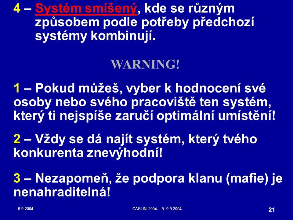 6.9.2004CASLIN 2004 – 5.-9.9.2004 21 4 – Systém smíšený, kde se různým způsobem podle potřeby předchozí systémy kombinují. 1 – Pokud můžeš, vyber k ho