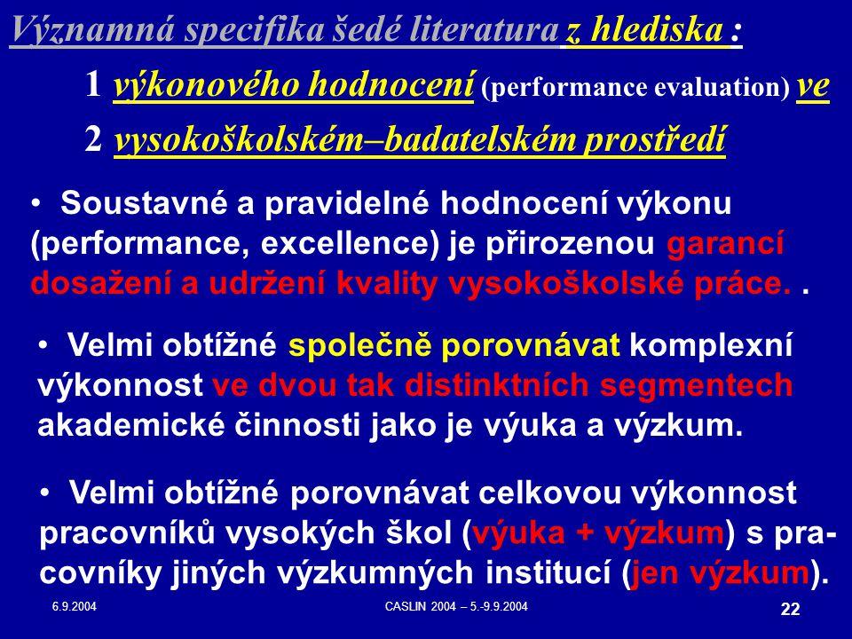 6.9.2004CASLIN 2004 – 5.-9.9.2004 22 Velmi obtížné společně porovnávat komplexní výkonnost ve dvou tak distinktních segmentech akademické činnosti jak