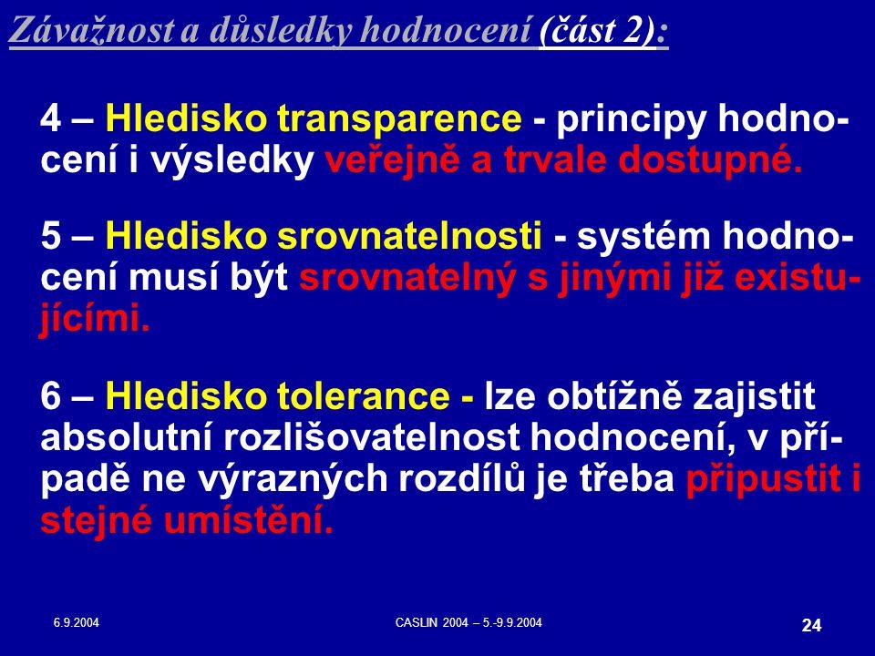 6.9.2004CASLIN 2004 – 5.-9.9.2004 24 Závažnost a důsledky hodnocení (část 2): 4 – Hledisko transparence - principy hodno- cení i výsledky veřejně a tr