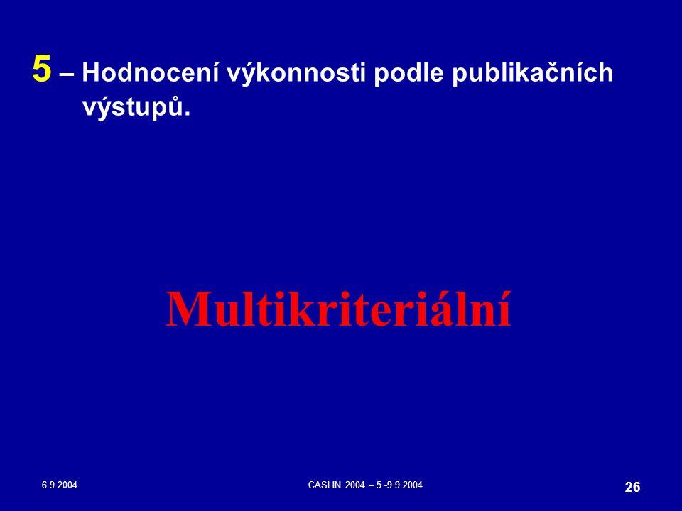 6.9.2004CASLIN 2004 – 5.-9.9.2004 26 5 – Hodnocení výkonnosti podle publikačních výstupů. Multikriteriální