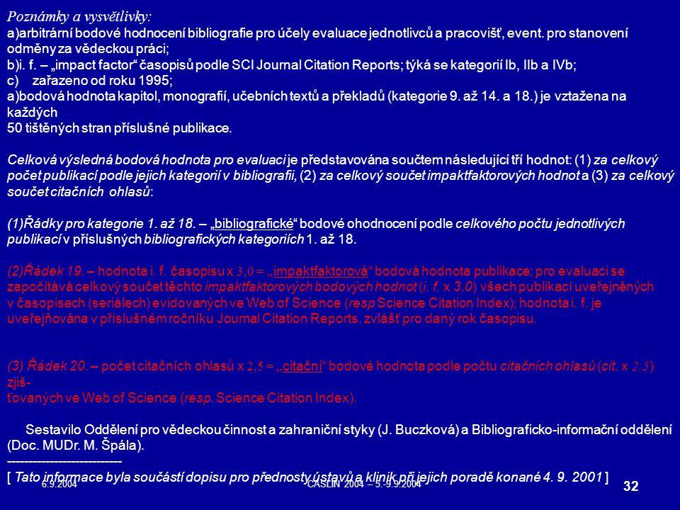 6.9.2004CASLIN 2004 – 5.-9.9.2004 32 Poznámky a vysvětlivky: a)arbitrární bodové hodnocení bibliografie pro účely evaluace jednotlivců a pracovišť, ev