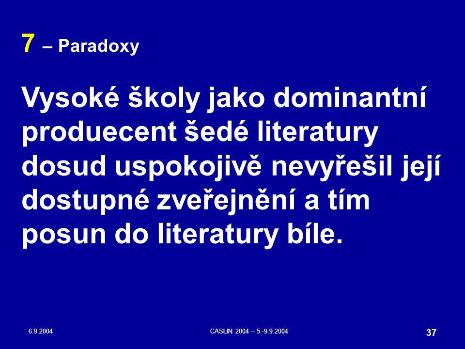 6.9.2004CASLIN 2004 – 5.-9.9.2004 37 7 – Paradoxy Vysoké školy jako dominantní produecent šedé literatury dosud uspokojivě nevyřešil její dostupné zve