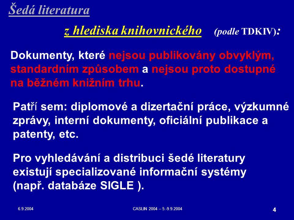 6.9.2004CASLIN 2004 – 5.-9.9.2004 4 Dokumenty, které nejsou publikovány obvyklým, standardním způsobem a nejsou proto dostupné na běžném knižním trhu.
