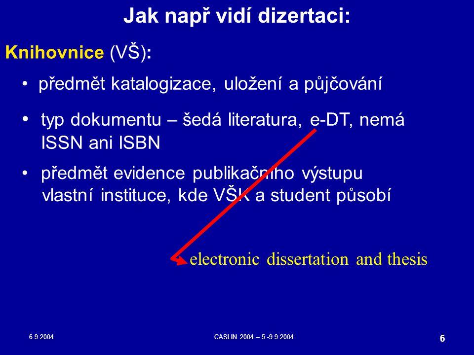 6.9.2004CASLIN 2004 – 5.-9.9.2004 6 předmět katalogizace, uložení a půjčování Jak např vidí dizertaci: typ dokumentu – šedá literatura, e-DT, nemá ISS