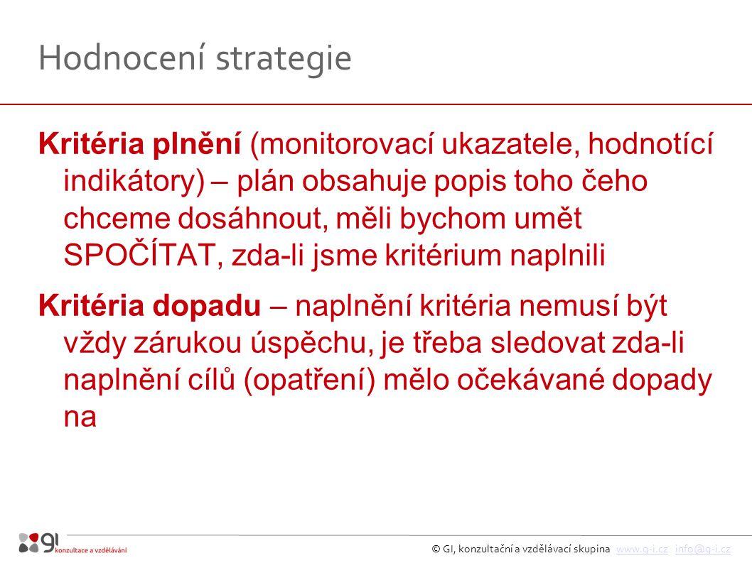 © GI, konzultační a vzdělávací skupina www.g-i.cz info@g-i.czwww.g-i.czinfo@g-i.cz Hodnocení strategie Kritéria plnění (monitorovací ukazatele, hodnotící indikátory) – plán obsahuje popis toho čeho chceme dosáhnout, měli bychom umět SPOČÍTAT, zda-li jsme kritérium naplnili Kritéria dopadu – naplnění kritéria nemusí být vždy zárukou úspěchu, je třeba sledovat zda-li naplnění cílů (opatření) mělo očekávané dopady na